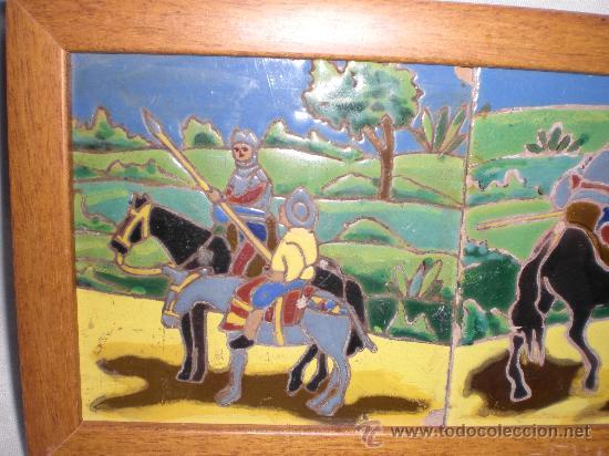 Antigüedades: BONITA PAREJA DE AZULEJOS ENMARCADOS DE TRIANA,(SEVILLA),ESCENAS DEL QUIJOTE - Foto 2 - 31375630