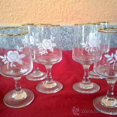 Antiques - preciosas 6 copitas de licor con flor estampada y filos de oro - 31394739