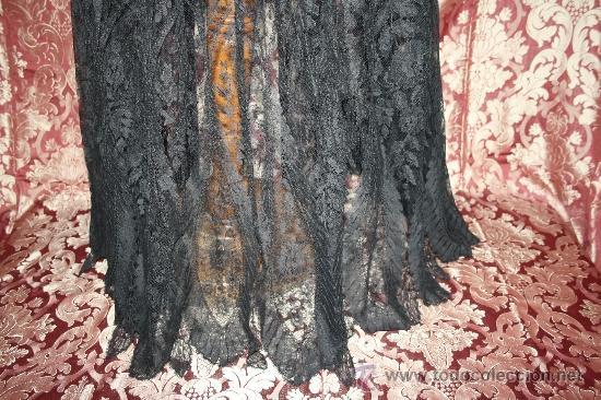 Antiquitäten: EXCEPCIONAL FALDA EN ENCAJE DE BLONDA, MEDIADOS S.XIX - Foto 3 - 31408583