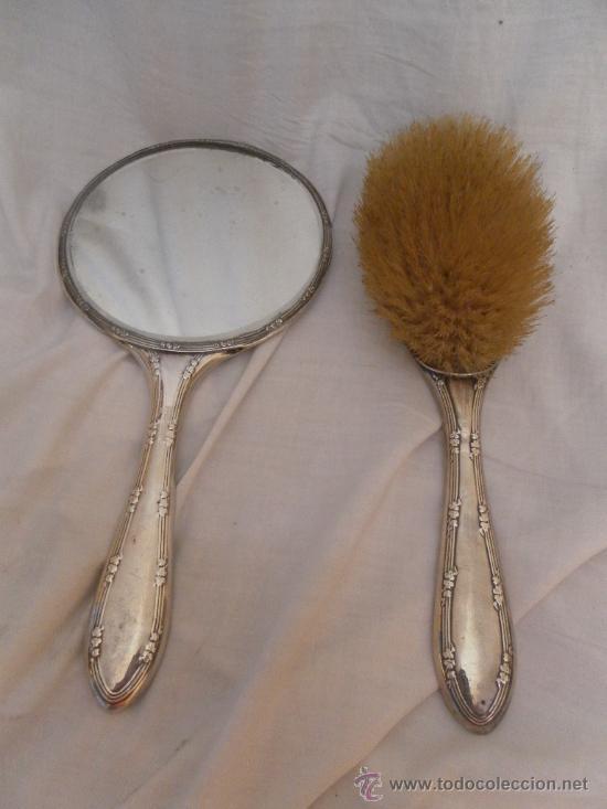Conjunto de cepillo y espejo de plata comprar plata de for Espejo y cepillo antiguo
