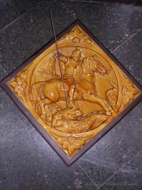 CERAMICA CATALANA VIDRIADA RELIEVE SANT JORDI FINAL DE S. XIX O PRINCIPIOS XX ,( NO COPIA) (Antigüedades - Porcelanas y Cerámicas - Catalana)