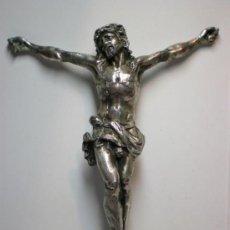 Antigüedades: PRECIOSO CRISTO ANTIGUO, S.XIX, BAÑADO EN PLATA. Lote 31499987