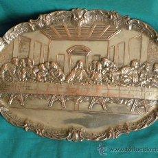 Antigüedades: BANDEJA REPUJADA EN CHAPA DE COBRE Y METAL COLOR PLATA ULTIMA CENA LEONARDO DE VINCI PRIC, S.XX. Lote 215401382