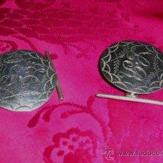 Antigüedades: GEMELOS GRANDES ANTIGUOS DE COLECCIÓN.PLATA SIN MARCA.ADORNOS FLORALES.GRABADO.L.R.ENVÍO PAGO.. Lote 31538766