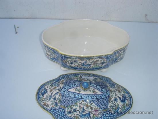 Antigüedades: centro de ceramica pinatdo a mano - Foto 2 - 31521060