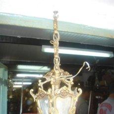 Antigüedades: FAROL DE BRONCE DORADO MEDIANO. Lote 31523417