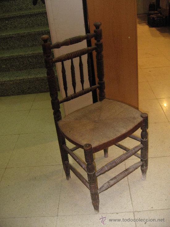 Antigua silla de madera torneada asiento enea comprar - Sillas antiguas de madera ...