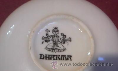 Antigüedades: Pequeño plato de porcelana.Marca DHARMA. - Foto 3 - 31594053