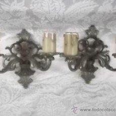 Antigüedades: APLIQUES DE PARED ANTIGUOS EN BRONCE. Lote 31594930