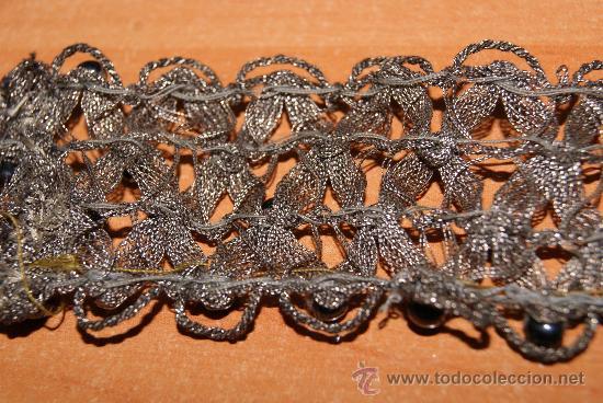 antigedades cinta cenefa trenzada hilo metalico plata modernista ideal gargantilla foto