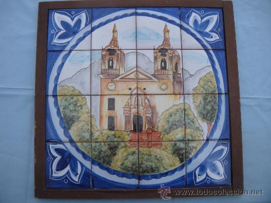 MOSAICO DE 16 AZULEJOS, SANTUARIO DE LA FUENSANTA, MURCIA. FIRMADO LARIO. (Antigüedades - Porcelanas y Cerámicas - Lario)