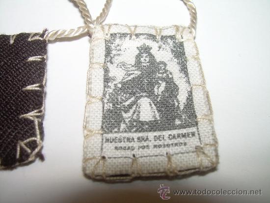 ANTIGUO ESCAPULARIO VIRGEN DEL CARMEN. (Antigüedades - Religiosas - Escapularios Antiguos)