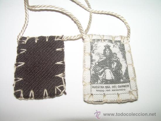 Antigüedades: ANTIGUO ESCAPULARIO VIRGEN DEL CARMEN. - Foto 2 - 31636374