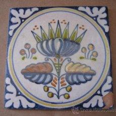 Antigüedades: AZULEJO ANTIGUO DE TALAVERA, TECNICA PINTADA LISA. Lote 31636746