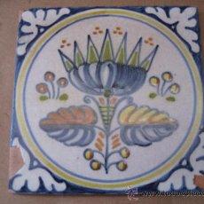 Antigüedades: AZULEJO ANTIGUO DE TALAVERA, EN TECNICA PINTADA LISA.. Lote 31636799