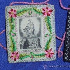 Antigüedades: ANTIGUO ESCAPULARIO SIGLO XIX, BORDADO. VIRGEN NUESTRA SEÑORA DE LAS MERCEDES. UNA PARTE 6,5X7,5 CM.. Lote 31639426
