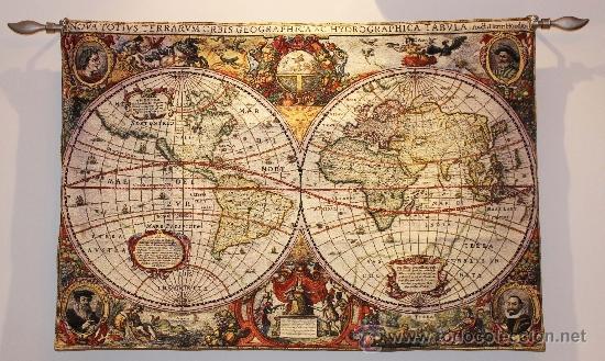tapiz medieval antiguo mapa mundi 120x85 cm  Comprar Tapices