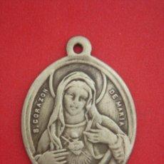 Antigüedades: MEDALLA RELIGIOSA S. XIX EN BRONCE APARENTA ORO (S. CORAZÓN DE MARÍA Y DE JESÚS). 4,2 GRAMOS.. Lote 31650917