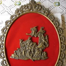 Antigüedades: CUADRO DE BRONCE CON PRECIOSO DECORADO CENTRAL. Lote 31653702