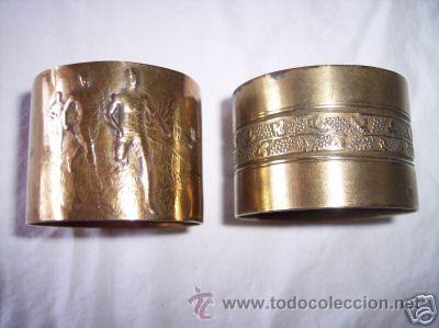 DOS ANTIGUOS SERVILLETEROS (Antigüedades - Platería - Plata de Ley Antigua)