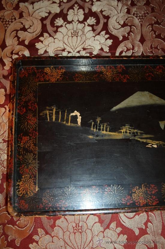 Antigüedades: ANTIGUA BANDEJA LACADA ORIENTAL DEL S.XIX - Foto 2 - 31694979