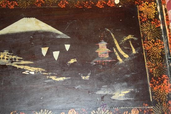 Antigüedades: ANTIGUA BANDEJA LACADA ORIENTAL DEL S.XIX - Foto 5 - 31694979