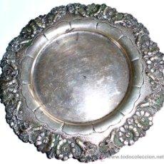 Antigüedades: BANDEJA DE PLATA CON MOTIVOS FLORALES - PESO 78 GR. Lote 31696561
