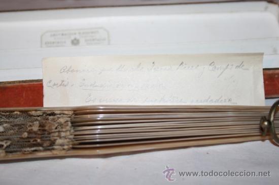 Antigüedades: AB043 ABANICO. VARILLAJE DE MADREPERLA. ENCAJE INGLÉS. FRANCIA. SIGLO XIX - Foto 2 - 31692966