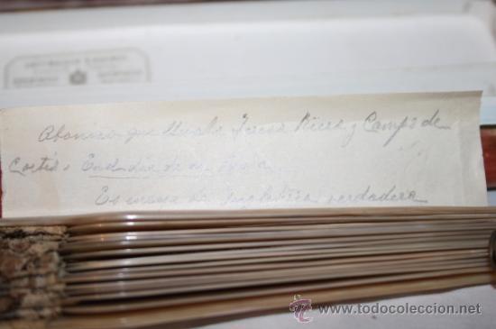 Antigüedades: AB043 ABANICO. VARILLAJE DE MADREPERLA. ENCAJE INGLÉS. FRANCIA. SIGLO XIX - Foto 3 - 31692966