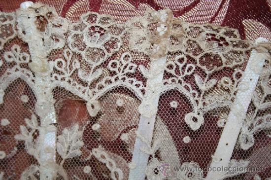 Antigüedades: AB043 ABANICO. VARILLAJE DE MADREPERLA. ENCAJE INGLÉS. FRANCIA. SIGLO XIX - Foto 12 - 31692966
