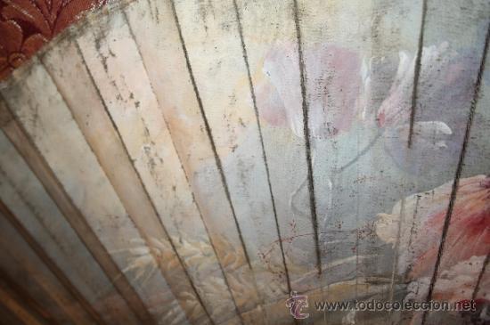 Antigüedades: AB054 ORIGINAL ABANICO. PAÍS EN TELA PINTADA A MANO. S. XIX - Foto 11 - 31693312