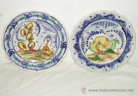 2 platos cer mica popular de triana temas de m comprar - Platos de ceramica ...