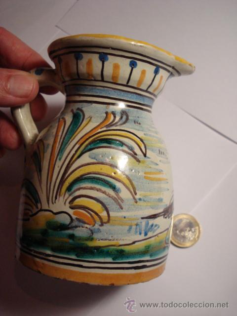 Antigüedades: TALAVERA NIVEIRO PRECIOSA JARRA PINTADA A MANO - ARBOLES Y PAJARO 11 X 8 CM - Foto 2 - 31739437