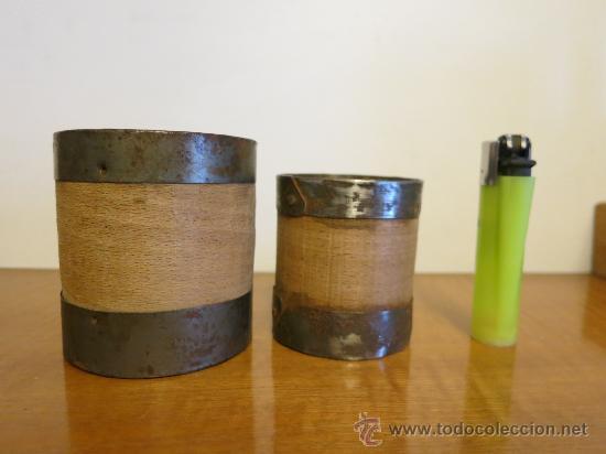 Antigüedades: dos medidas de aridos del sistema metrico ESPAÑOL doble decilitro y decilitro - Foto 3 - 31753849