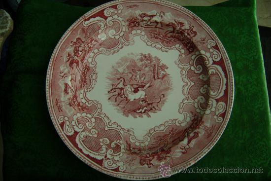 Antigüedades: BANDEJA DE CARTAGENA EN COLOR ROSA - Foto 3 - 26316930
