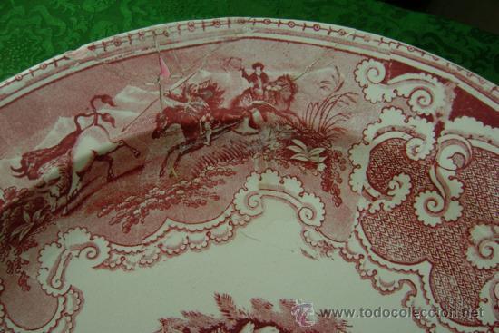 Antigüedades: BANDEJA DE CARTAGENA EN COLOR ROSA - Foto 4 - 26316930