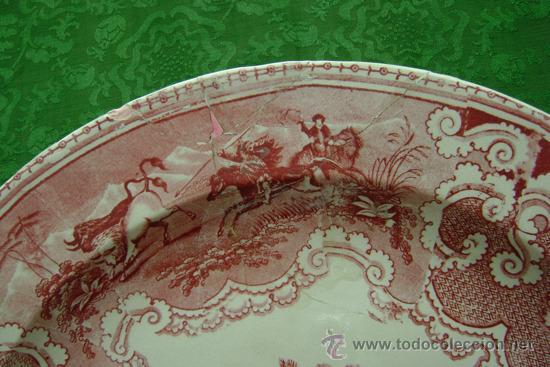 Antigüedades: BANDEJA DE CARTAGENA EN COLOR ROSA - Foto 6 - 26316930