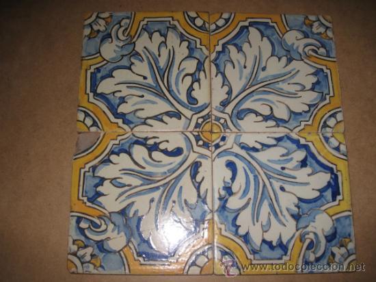 Cuadro de 4 azulejos antiguos de talavera de la comprar for Azulejos clasicos