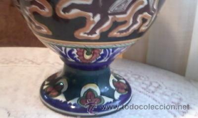 Antigüedades: ANTIGUA ANFORA DE CERÁMICA 4 ASAS.DECORADA CON DIBUJOS MITOLÓGICOS(DRAGONES)DE ÉPOCA INDETERMINADA - Foto 3 - 31788162