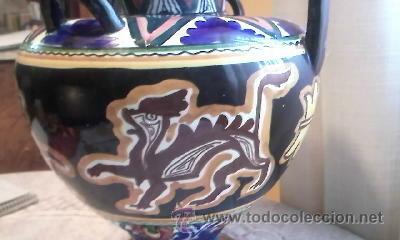 Antigüedades: ANTIGUA ANFORA DE CERÁMICA 4 ASAS.DECORADA CON DIBUJOS MITOLÓGICOS(DRAGONES)DE ÉPOCA INDETERMINADA - Foto 4 - 31788162