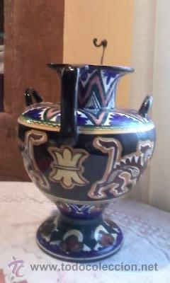 Antigüedades: ANTIGUA ANFORA DE CERÁMICA 4 ASAS.DECORADA CON DIBUJOS MITOLÓGICOS(DRAGONES)DE ÉPOCA INDETERMINADA - Foto 7 - 31788162