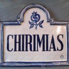 Antigüedades: ANTIGUA PLACA CASA CHIRIMIAS GRANADA CERAMICA ARABE S.ISIDRO MD.48X42. Lote 31807746