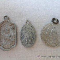 Antigüedades: LOTE DE 3 ANTIGUAS MEDALLAS RELIGIOSAS.. Lote 31810883