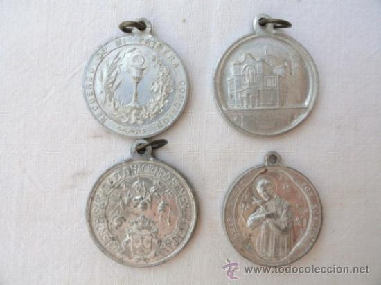 Antigüedades: LOTE DE 4 ANTIGUAS MEDALLAS RELIGIOSAS. - Foto 2 - 31810702