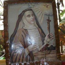 Antigüedades: ANTIGUO Y ORIGINAL CUADRO DE SANTA TERESA DE JESÚS CON APARICIÓN DEL ESPÍRITU SANTO EN PALOMA. Lote 53831024