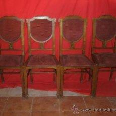 Antigüedades: JUEGO DE CUATRO SILLAS DE ROBLE, CON FLOR TALLADA EN LA MADERA Y ADORNO SUPERIOR.. Lote 31843547
