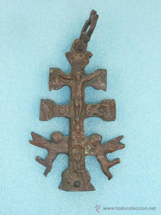ANTIGUA CRUZ DE CARAVACA DE S.XVIII - XIX. EN BRONCE. (Antigüedades - Religiosas - Cruces Antiguas)