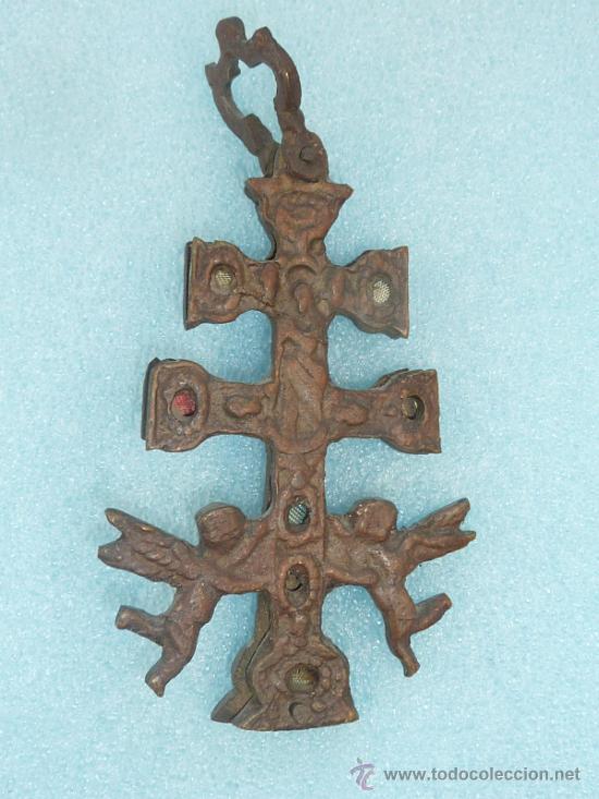 Antigüedades: ANTIGUA CRUZ DE CARAVACA DE S.XVIII - XIX. EN BRONCE. - Foto 2 - 31922362