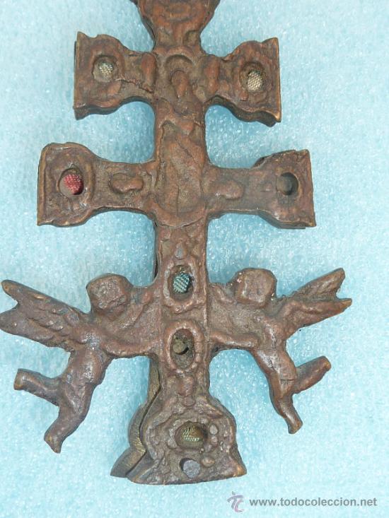 Antigüedades: ANTIGUA CRUZ DE CARAVACA DE S.XVIII - XIX. EN BRONCE. - Foto 3 - 31922362