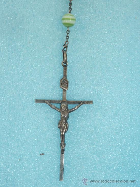 Antigüedades: ROSARIO CON CUENTAS DE CRISTAL Y PLATA - Foto 2 - 31892729